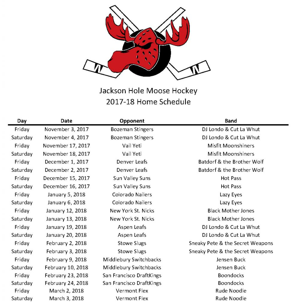 2017-18 Moose Schedule - Dates & Opponents cropped
