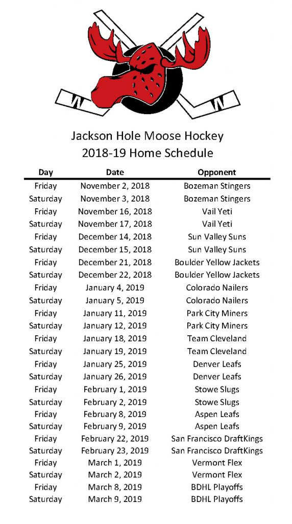 2018-19 Moose Schedule - Dates & Opponents